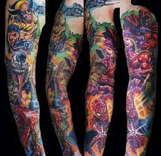 Just got this epic Marvel Avengers sleeve sent to us by the artist, Phil Webster of The Integrity Tattoo Lounge in West Yorkshire, UK. Description from pinterest.com. I searched for this on bing.com/images