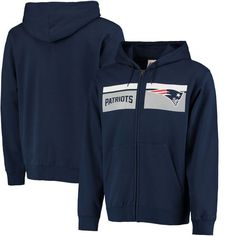 New England Patriots Majestic Touchback Full-Zip Hoodie - Navy - $59.99