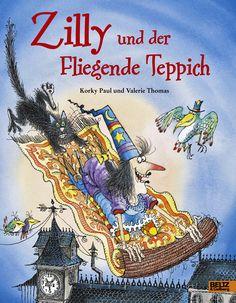 """""""Zilly und der fliegende Teppich"""" ist ein humorvolles Hexen-Bilderbuch von Valerie Thomas, illustriert von Korky Paul. Rezension von der Buchhexe."""
