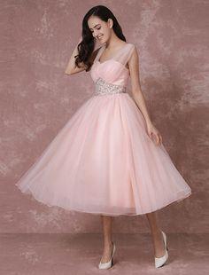 Tulle Wedding Dress Pink Bridal Dress Short Backless A-line #Cocktail #Dress