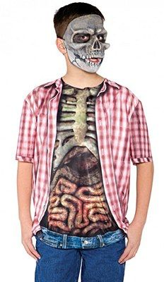 A t-shirt wich will make you look like you are wearing a red plaid shirt half open with a visual of the wearer's skeleton and guts showing. The back of the shirt just shows red plaid. Mask not included. Skeleton Halloween Costume, Classic Halloween Costumes, Halloween Costumes For Girls, Buy Costumes, Costume Shop, Adult Costumes, Zombie Kid, Skeleton Shirt, Discount Dresses