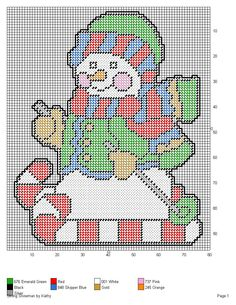 SKIING SNOWMAN by KATHY -- WALL HANGING