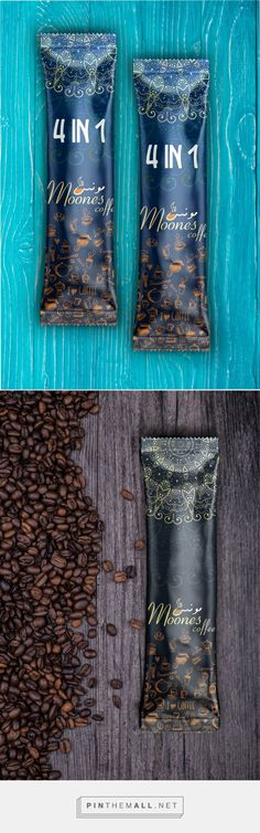 Lovely attention to detail, whimsy yet elegant. Moones Coffee, Iranian coffee brand, by DING Graphic. Source: Behance. #SFields99 #packaging #design #inspiration #ideas #product #branding #creative #coffee #pouch
