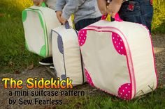 craft, sidekick mini, mini suitcas, bag, suitcases, suitcas pattern, kid suitcas, sew pattern, sewing patterns
