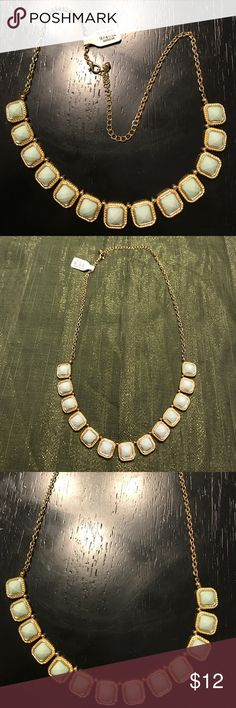 Gold and mint necklace 🎀 Beautiful gold with mint stones  New with tags  Retail - $18 Jewelry Necklaces