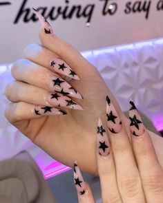 Pink stiletto star acrylic long nails- 𝕱𝖔𝖑𝖑𝖔𝖜 𝖋𝖔𝖗 𝖒𝖔𝖗𝖊 Best Picture For peach nails For Your Taste You are looking for something, and it is going to tell you exactly what you are looking for, and you didn't find that picture. Pointy Nails, Coffin Nails, Gel Nails, Nail Polish, Stiletto Nail Art, Nail Swag, Grunge Nails, Punk Nails, Edgy Nails
