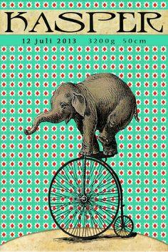 Geboortekaartje retro jongen - olifant op de fiets - Pimpelpluis  https://www.facebook.com/pages/Pimpelpluis/188675421305550?ref=hl (# vintage - retro - circus - olifant - olifantje - fiets - roze - dieren - origineel)