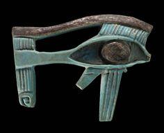 Eye of Horus (wedjat) amulet      Egyptian, Late Old Kingdom–Roman Period, 2323–30 B.C (MFA)