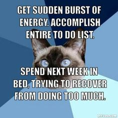 Story of my life. Have one good day, Spend it cleaning the entire house even though the husband and kids tell me I am way over doing it. Of course they are right and I spend the next several days on the couch in flare.