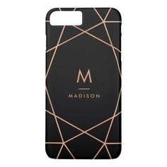 Black with Modern Faux Rose Gold Geometric Pattern iPhone 8 Plus Case. Available for the latest iPhone and Samsung cases, select your device type from the product page. ***** FIND UNDER ELEGANT ***** Cool Phone Cases, Iphone Cases, Iphone 7, Phone Covers, Samsung Cases, Iphone 8 Plus, Geometric Lines, Plastic Case, 6s Plus