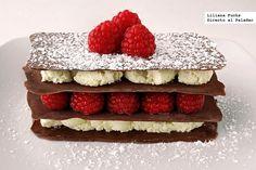 Milhojas de chocolates con frambuesas. Receta para San Valentín. Idea de @Directo al Paladar  #postre #sanvalentin #receta