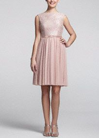 Ultra elegant and super chic, your bridesmaids will love the way they look in this gorgeous number!  Sleeveless bodice features delicate and feminine lace detailing.  Belt at waist creates a stunning silhouette.   Short mesh flowy skirt adds movement and finishes off the look.  Fully lined. Back zip. Imported. Dry clean.