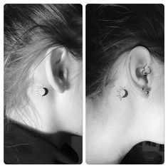 Best Black #Moon And #Sun Tattoo Behind The Ear #behindtheeartattoo #tattoo #eartattoo