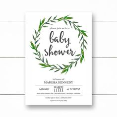 Baby shower invitation, Greenery Boho baby Shower, baby shower invitations, modern Invite printed or digital, personalized baby shower by lovelypapershop on Etsy https://www.etsy.com/listing/491455546/baby-shower-invitation-greenery-boho