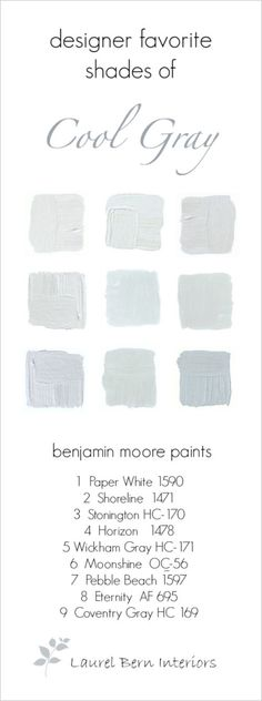 Benjamin Moore Cool Gray Paint Colors