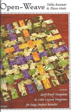 Table Runner Pattern, Open Weave Table Runner Pattern, Place Mats Pattern, Sewing Pattern, Quilt Pattern