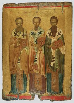 The icon had been covered by another depiction of the Three Hierarchs in the post-Byzantine years. When the newer painting wa...