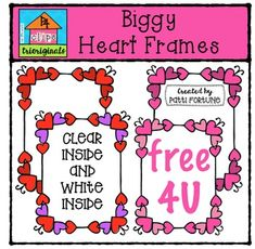 """I wanted to share some """"Biggy Love"""" with you with this bright bold set of heart frames.I hope you LOVE them!This clip art set includes 23 images. There are 22 vibrant coloured images and 1 black and white image.If you like this set I'd love to have your feedback for my shop."""