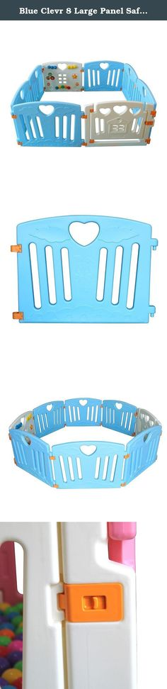 Blue Clevr 8 Large Panel Safety Baby Playard. Product Description: The ClevrTM Safety Playpen is an eight(8) hinged-panel system to keep your little one safe! The ClevrTM Safely Playpen includes six (6) hinged panels, one (1) activity panel with a picture house, spinning dials, push button and one (1) swinging door gate with safety lock. You can build it in a variety of shapes such as an octagon, rectangle, or square or you can add/remove panels to make it as big or as small as you like…