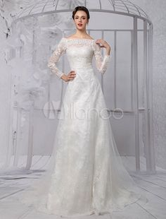 Lace Long Sleeve Off The Shoulder A-line Wedding Gown Milanoo Budget Wedding Dress, Best Wedding Dresses, Wedding Gowns, Cathedral Wedding Veils, Unique Fashion, Off The Shoulder, Sequins, Bride, Long Sleeve