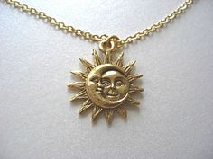 Gold Sun and Moon Pewter Charm Celestial Necklace by JaspersDream, $15.85