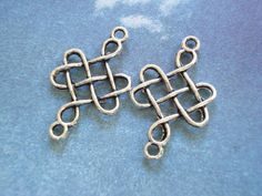50 Bulk Chinese Knot Charm Pendant Antiqued Silver Tone Connector 31x18mm B-883 by yooounique on Etsy