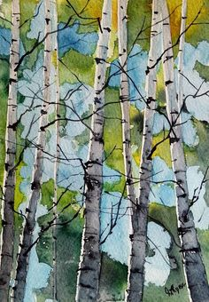 "Saatchi Art Artist james lagasse; Painting, ""New England Birches"" #art"