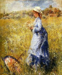 Mujer recolectando flores. Pierre Auguste Renoir, c.1872. Sterling and Francine Clark Art Institute. Williamstown. Estados Unidos.  https://www.wikiart.org/en/pierre-auguste-renoir/girl-gathering-flowers