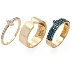 Janis Savitt Women's 18K Yellow Gold & 0.75 Total Ct. Blue & White... ($2,450) ❤ liked on Polyvore featuring jewelry, rings, gold, blue ring, gold band ring, wide-band rings, gold ring and gold jewelry