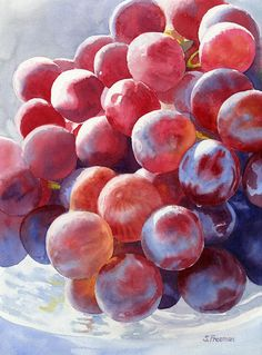 I'm not a big fan of hyper-realistic watercolors but this is not too overdone and has a beautiful light to it.  Red Grape Essence Painting by Sharon Freeman - Red Grape Essence Fine Art Prints and Posters for Sale
