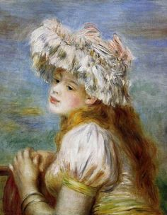 Title: Young Girl in a Lace Hat, 1891 Artist: Pierre-Auguste Renoir Medium: Hand-Painted Art Reproduction