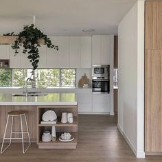 "We love this kitchen by the incredibly talented team at 🖤 Z+S Tip ""When opting for white custom 2 pac cabinetry in our… Beach Kitchen Decor, Beach House Kitchens, Home Kitchens, Modern Kitchens, Modern Kitchen Design, Room Interior, Interior Design Living Room, Stone Interior, Interior Modern"