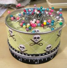 """xostitches: """" DIY Magnetic Pincushion Because magnets are the best things to hold your pins, and collect them when they're all over your sewing table/floor/couch. You need: • empty tin - doesn't need to have a lid. Easiest if it doesn't have too many..."""