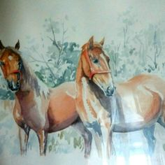 Watercolor chestnut horses study