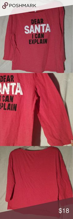 "Victorias secret holiday shirt BRAND: Victoria's secret  SIZE: Large  FLAW: None  COLOR: red  DESCRIPTION: 3/4 sleeve Victoria's secret sleep shirt! Can be worn as a regular shirt. Only worn once. It says ""Dear Santa I can explain"". Excellent Christmas shirt, perfect for holiday outings!  The mannequin measurements are:  Shoulders: 15"" Chest: 34"" Waist: 26.7"" Hip: 35.4""  Use #bishoujo to sort for your size. Please note I do have several pets, but all items will be washed before shipping…"