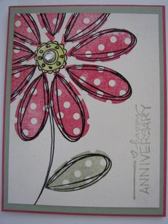 Pick a Petal Anniversary Card by TrudyW - Cards and Paper Crafts at Splitcoaststampers Wedding Anniversary Cards, Homemade Anniversary Cards, Wedding Cards, Paper Cards, Diy Cards, Flower Stamp, Tampons, Card Making Inspiration, Love Cards