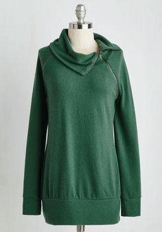 Stay Inn Sweater in Fern - Green, Solid, Work, Casual, Long Sleeve, Knit, Better, Basic, Cowl, Mid-length