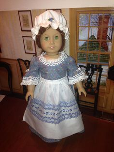 """Homemade 18"""" American Girl doll -  Felicity - Colonial 3 Piece Ensemble Includes with embroidered apron and mob cap."""