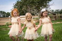 The Charlotte - Vintage Beige, Lace, Chiffon Flower Girl Dress, made for girls, toddlers, on Etsy, $68.95 adorable Flower girl dress perfect for our rustic outdoor wedding.