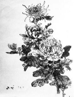 Voici un modèle pour peindre les chrysanthèmes en peinture chinoise Baimiao. Après avoir dessiné les contours, il faut rajouter des touches d'encre assez diluée. C'est ce que l'on appelle la peinture chinoise Bai Miao à l'encre diluée. Les éléments du... Japanese Painting, Japanese Art, E Flowers, Tattoo Project, Cool Tats, Botanical Drawings, China Painting, Finger Tattoos, Love Tattoos