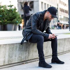 Chelsea boots all black men street style brought to you by Tom Maslanka  Mens Leather Biker 0a133e14d