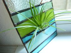 Stained Glass Panel Air Plant Holder  Aqua Green by glassetc, $30.99