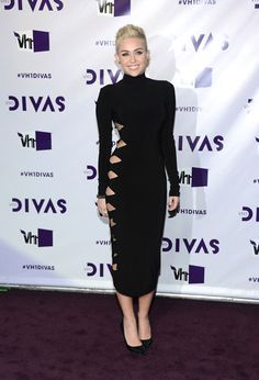 Miley Cyrus in a Norma Kamali Fall 2012 cut out gown.