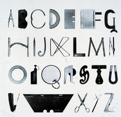 """Alphabet with Tools"" by Mervyn Kurlansky. Everyday objects found in homes and workshops organized into the letters of the alphabet. Typography Letters, Graphic Design Typography, Logo Design, Type Design, Lettering Design, Best Design Books, Schrift Design, Laszlo Moholy Nagy, Visual Puns"