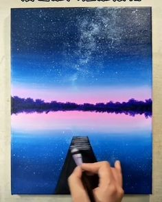 😍😍 - Galaxy Painting - Step By Step Acrylic Painting Tutorial Easy Canvas Art, Easy Canvas Painting, Canvas Ideas, Acrylic Landscape, Landscape Paintings, Canvas Painting Tutorials, Painting Videos, Trippy Painting, Aesthetic Painting