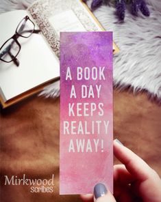 A Book a Day Keeps Reality Away! Watercolor Bookmark, Reader Gift under 5 - A Book a Day Keeps Reality Away! Watercolor Bookmark, Reader Gift under 5 - Bookmarks For Books, Creative Bookmarks, Cute Bookmarks, Paper Bookmarks, Bookmark Craft, Watercolor Bookmarks, Bookmark Ideas, Crochet Bookmarks, Corner Bookmarks