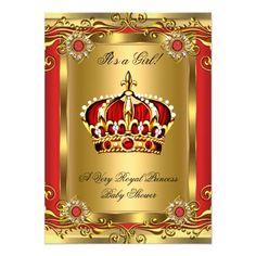 Boy or Girl Royal Baby Shower Regal Red Gold 2