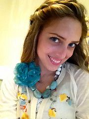Add a fabric flower to your blue and white necklace and tada!