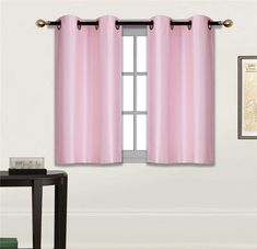 """Elegant Home 2 Panels Tiers Grommets Small Window Treatment Curtain Faux Silk Insulated Blackout Drape Short Panel 30"""" W X 36"""" L Each for Kitchen Bathroom or Any Small Window # D24 (Light Pink)"""