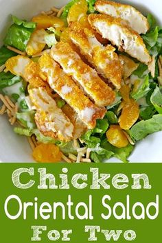 This delicious Chicken Oriental Salad is perfect for a light, refreshing lunch or romantic date night dinner for two. It has great crunch in the lettuce, breaded chicken, chow mein noodles, and almonds mixed with the soft sweetness of the mandarin oranges. The dressing has incredible sweet and tangy flavor, and it's quick and easy to make. #ChickenOrientalSalad #chicken #oriental #salad #DinnerForTwo #LunchForTwo #RecipesForTwo via @ZonaCooks